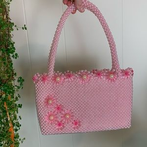 Vintage Pink Faux Pearl Beaded Daisy Bag